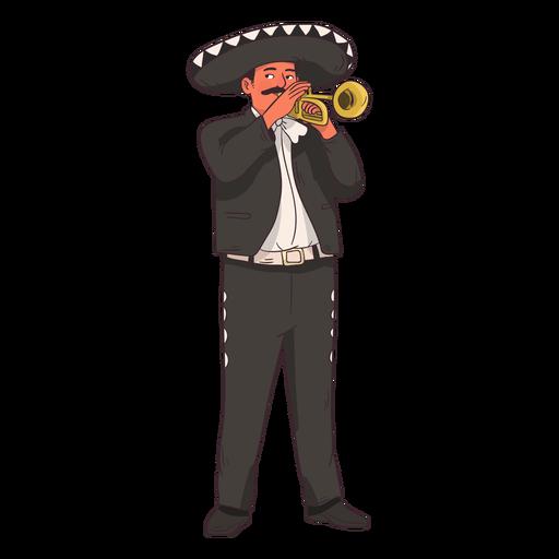 Mariachi trumpet player cartoon Transparent PNG