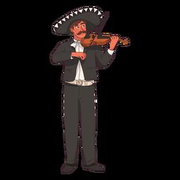 Dibujos animados de jugador de violín mariachi