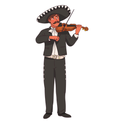 Mariachi violin player cartoon