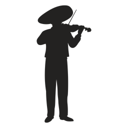 Mariachi violin player silhouette