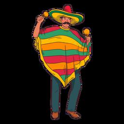 Dibujos animados de jugador de maracas mexicano