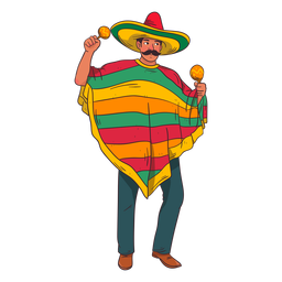 Mexican maracas player cartoon