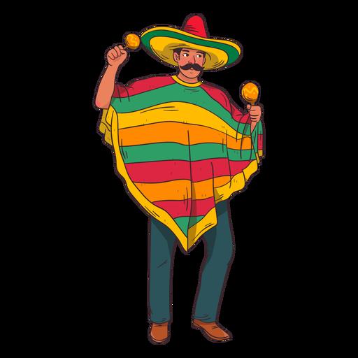 Mexican maracas player cartoon Transparent PNG