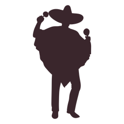 Mexican maracas player silhouette
