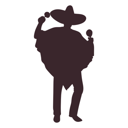 Mexican maracas player silhouette Transparent PNG