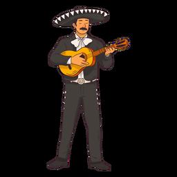 Caricatura de personaje de mariachi mexicano