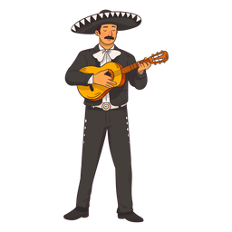 Mexican mariachi character cartoon
