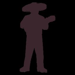 Silueta de personaje de mariachi mexicano