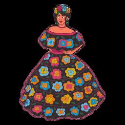 Desenho de personagem de mulher mexicana