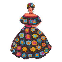 Mexican woman character cartoon