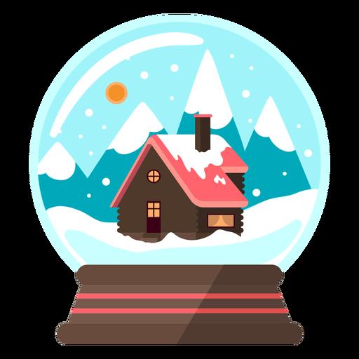 Bola de nieve de cabaña de montaña
