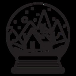 Curso de globo de neve de chalé de montanha