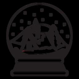 Curso de globo de neve de alojamento de montanha