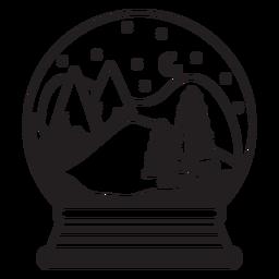 Curso de globo de neve de cena de montanha