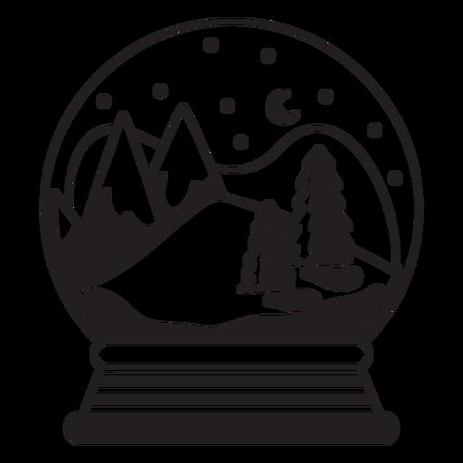 Mountain scene snow globe stroke