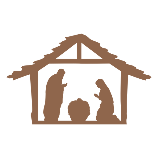 Nativity of jesus scene silhouette