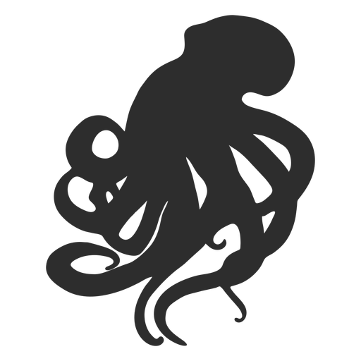 Octopus pushing up silhouette Transparent PNG