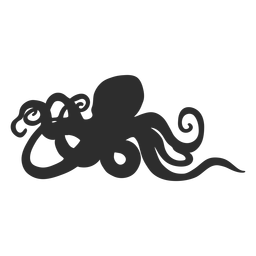 Octopus standing still silhouette