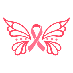 Ornamented butterfly breast cancer ribbon