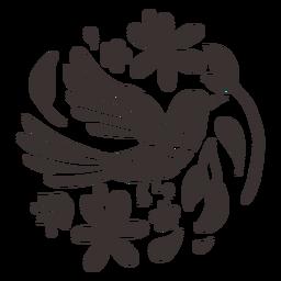 Silhueta de pássaro estilo Otomi