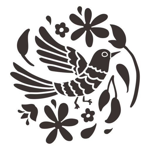 Silueta de pájaro estilo otomí Transparent PNG