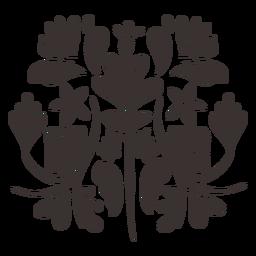 Silueta de composición floral de estilo otomí