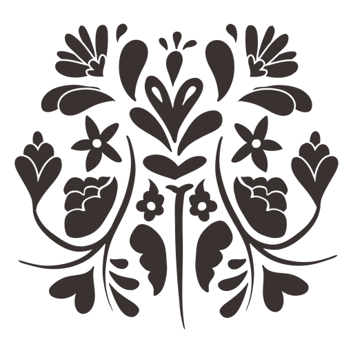 Otomi style floral composition silhouette