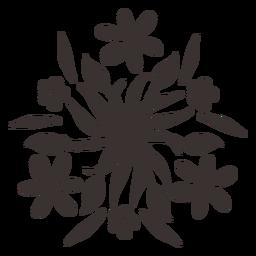 Silhueta de ornamento floral de estilo Otomi