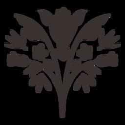 Silueta de elemento de flor de estilo otomí