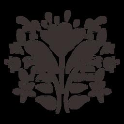 Silueta de adorno de flor de estilo otomí