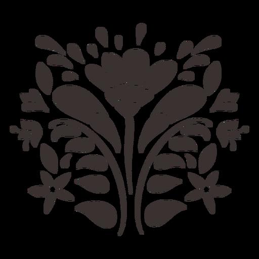 Silueta de adorno de flor de estilo otomí Transparent PNG