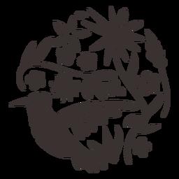 Silhueta de beija-flor de estilo Otomi