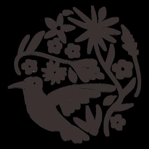 Otomi style hummingbird silhouette