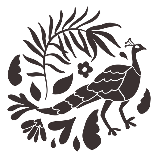 Otomi style peacock silhouette
