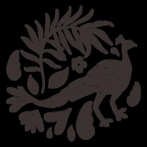 Silhueta de pavão estilo Otomi