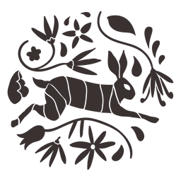 Otomi style rabbit silhouette