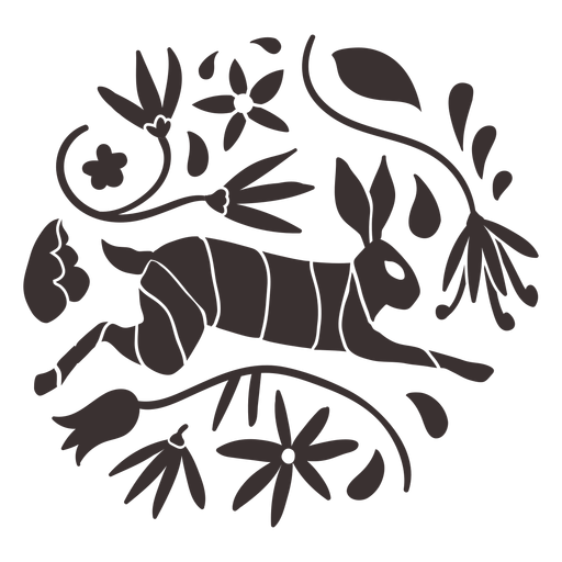Silueta de conejo estilo otomí Transparent PNG