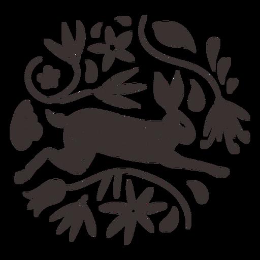 Silueta de conejo estilo otomí
