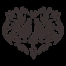 Silueta de gallo de gallo de estilo otomí