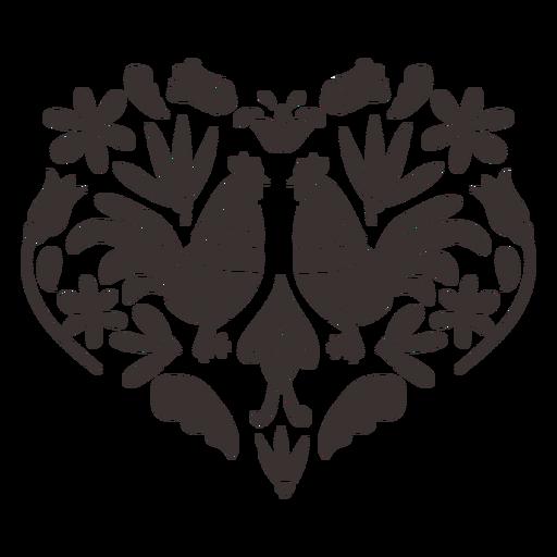 Silueta de gallo de gallo de estilo otomí Transparent PNG