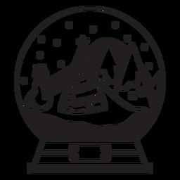 Curso de globo de neve de pinheiros