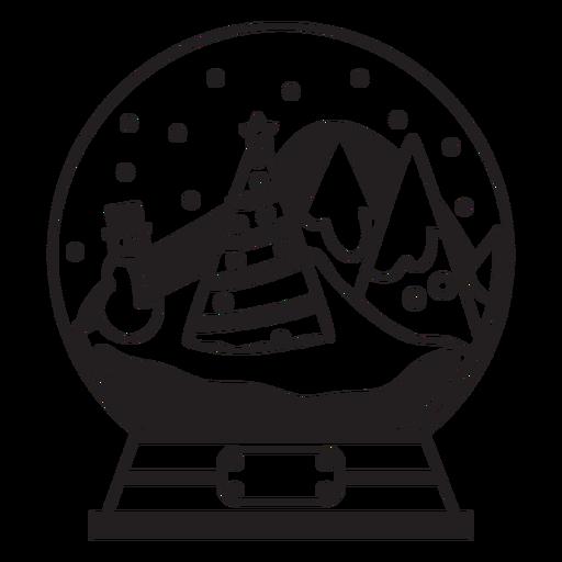 Pine trees snow globe stroke Transparent PNG