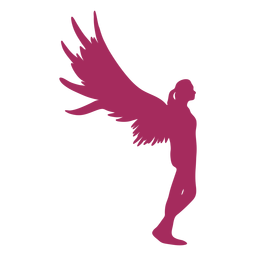 Pink angel side view silhouette