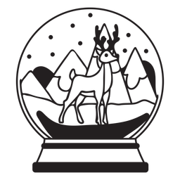 Curso de globo de neve de renas