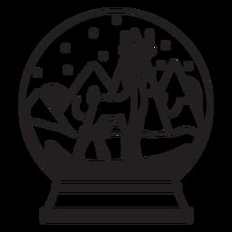 Reindeer snow globe stroke