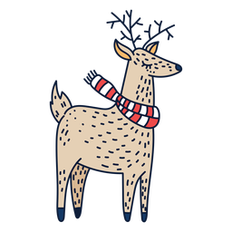 Reindeer with scarf cartoon