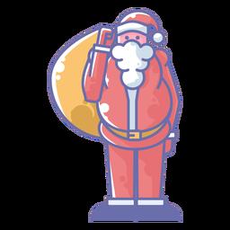 Santa llevando saco de regalos