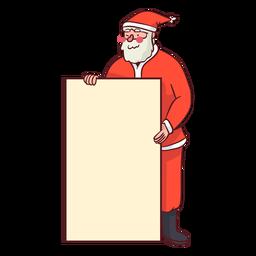 Papai Noel segurando uma placa
