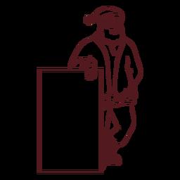 Santa claus holding sign stroke