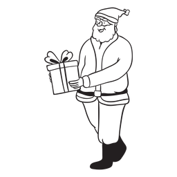 Santa entrega presente trazo